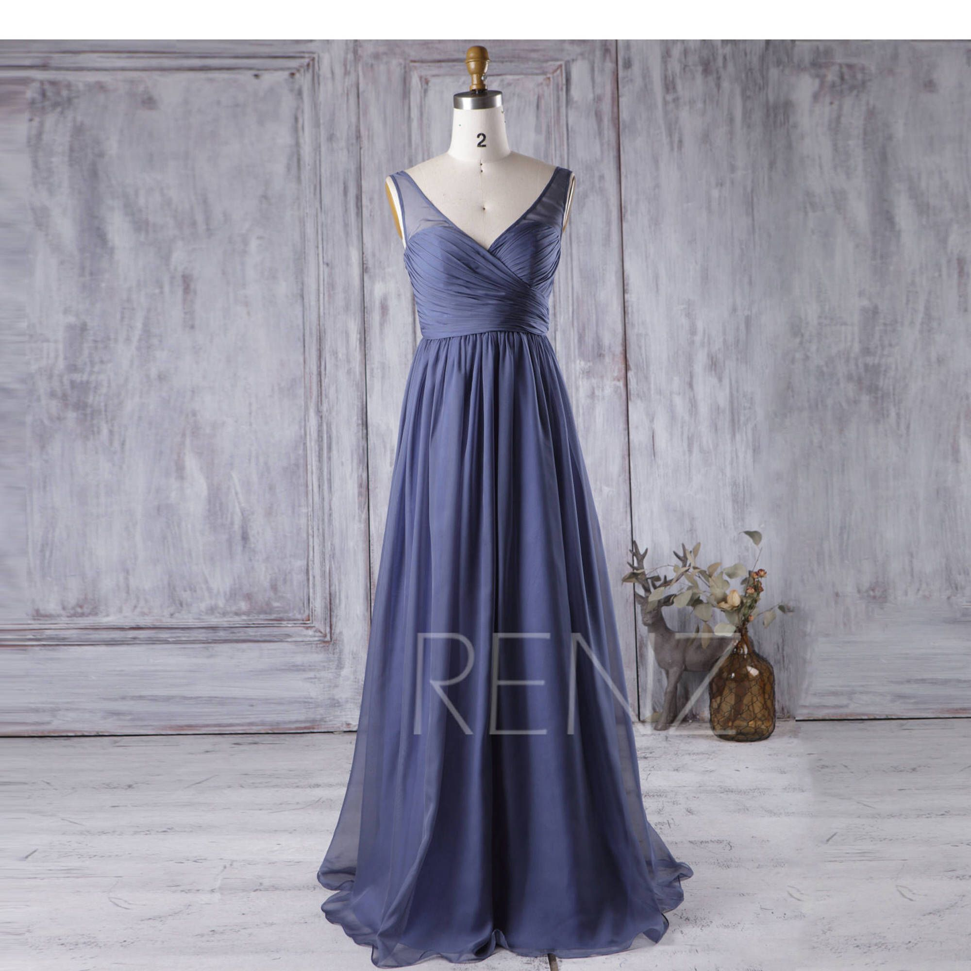 Dark steel blue bridesmaid dress v neck chiffon wedding dress long
