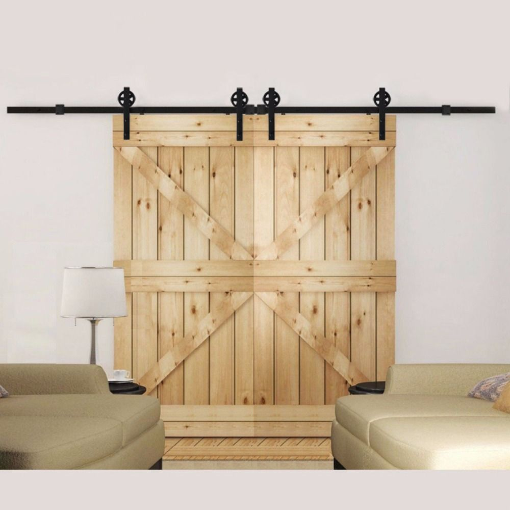 Free Shipping 5ft 12ft Vintage Strap Industrial Wheel Double Sliding Barn Wood Door Hardware Tra Door Hardware Cheap Barn Doors Cheap Barn Door Hardware