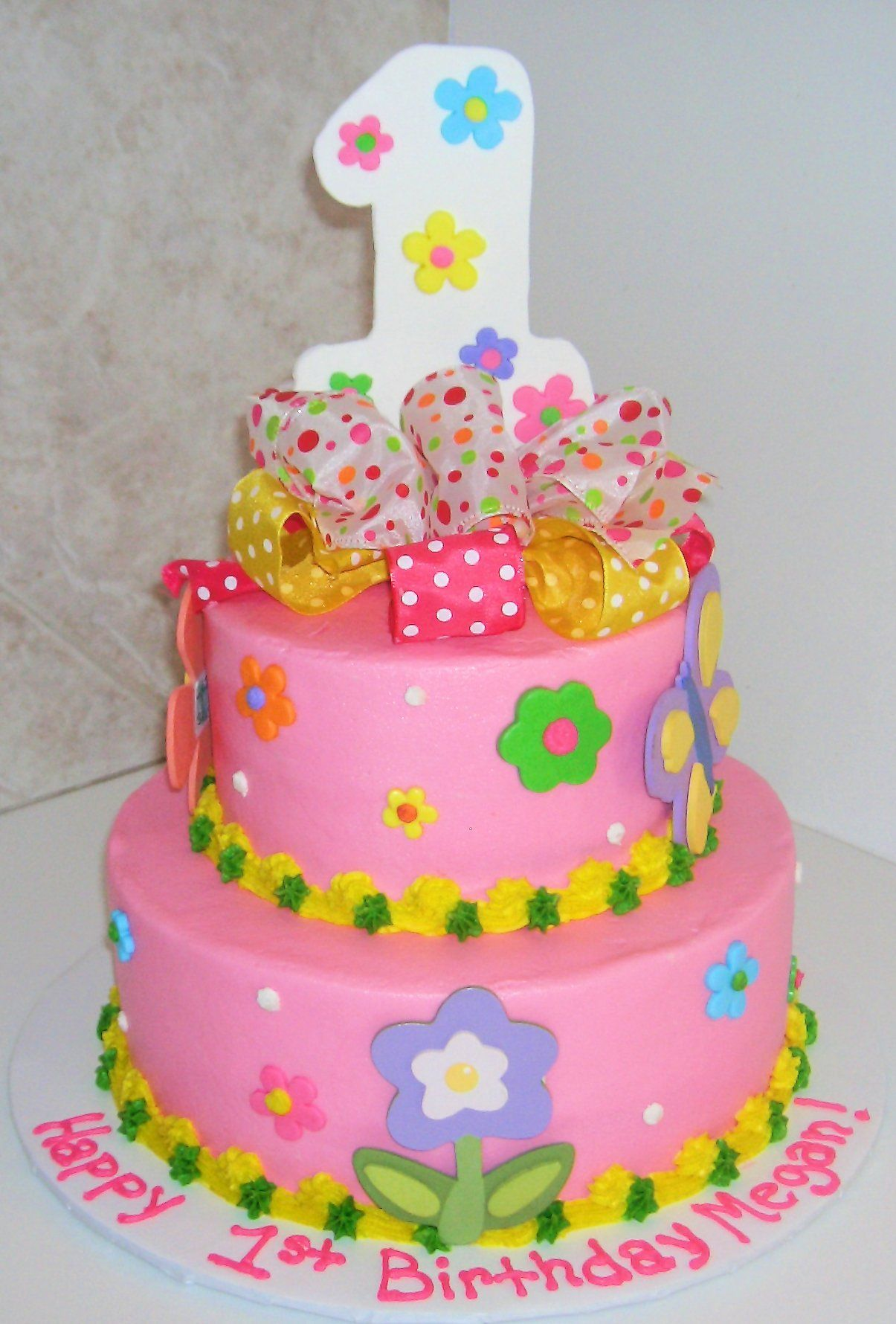 1st Birthday Flowers Description 9 6 Inch Stacked Rounds Decorated