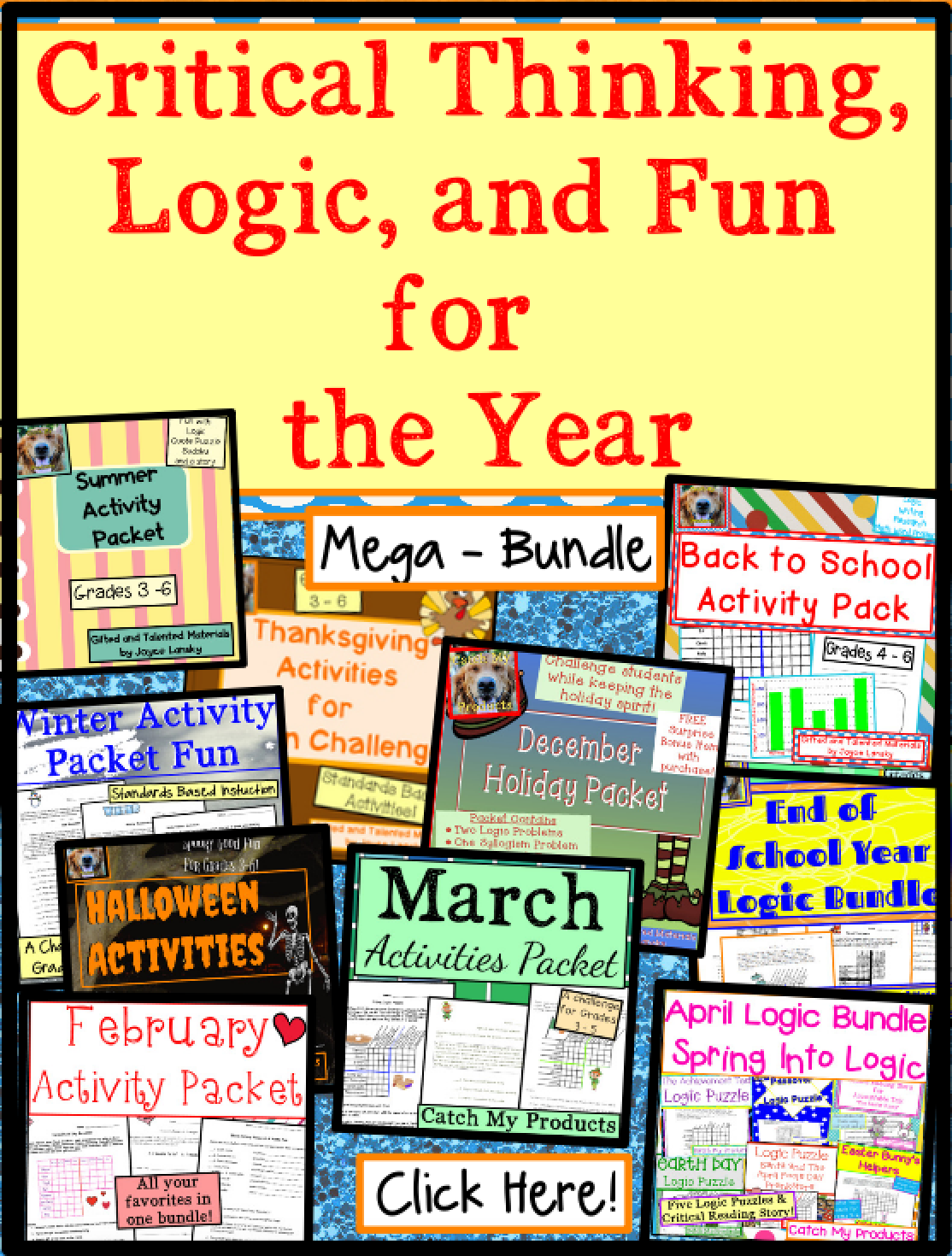 Critical Thinking Activities Year Round Mega Bundle