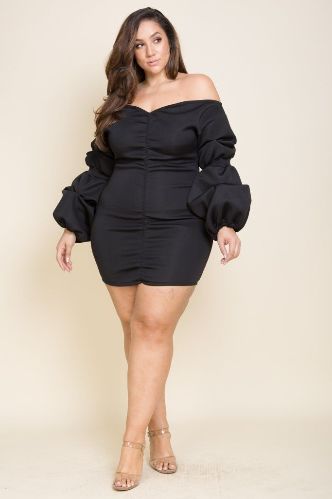Plus Size Mini Shoulder Dress Fluff arms Model is 6\'0 wearing 3X 95 ...