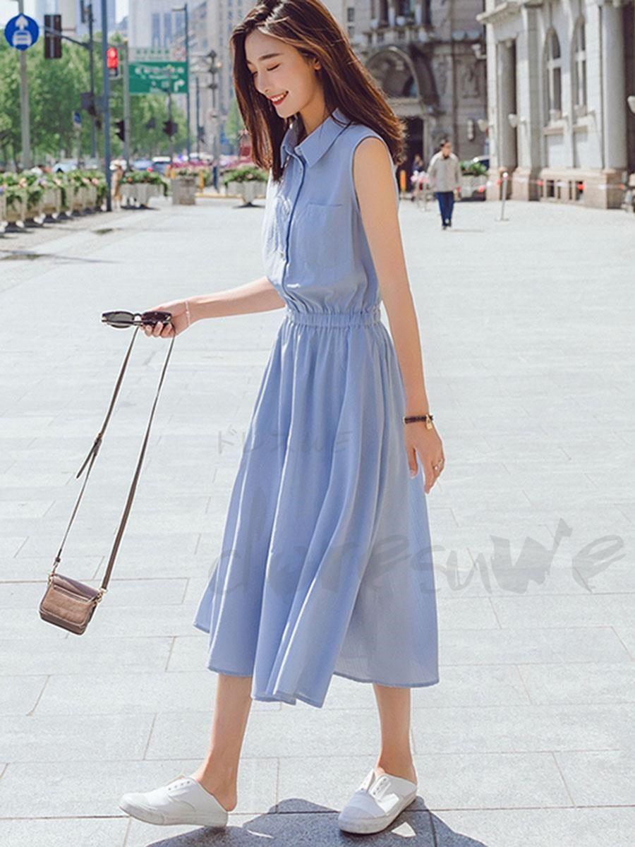 28befed77e50b Doresuwe ロング丈Tシャツワンピース デート着やせブルー系ウエストゴム仕様体型カバー 夏着レディースファッション