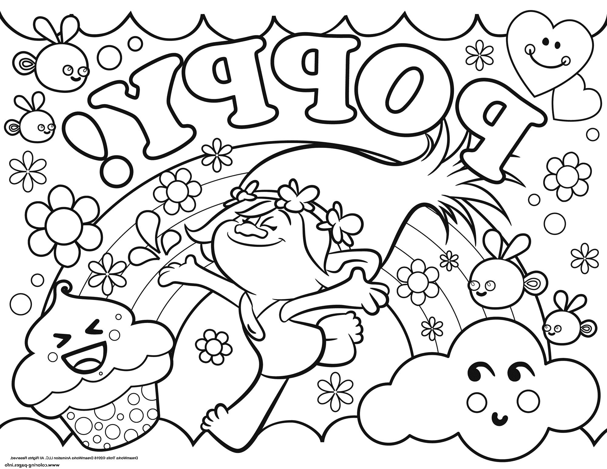 trolls coloring pages poppy - Trolls Coloring Pages