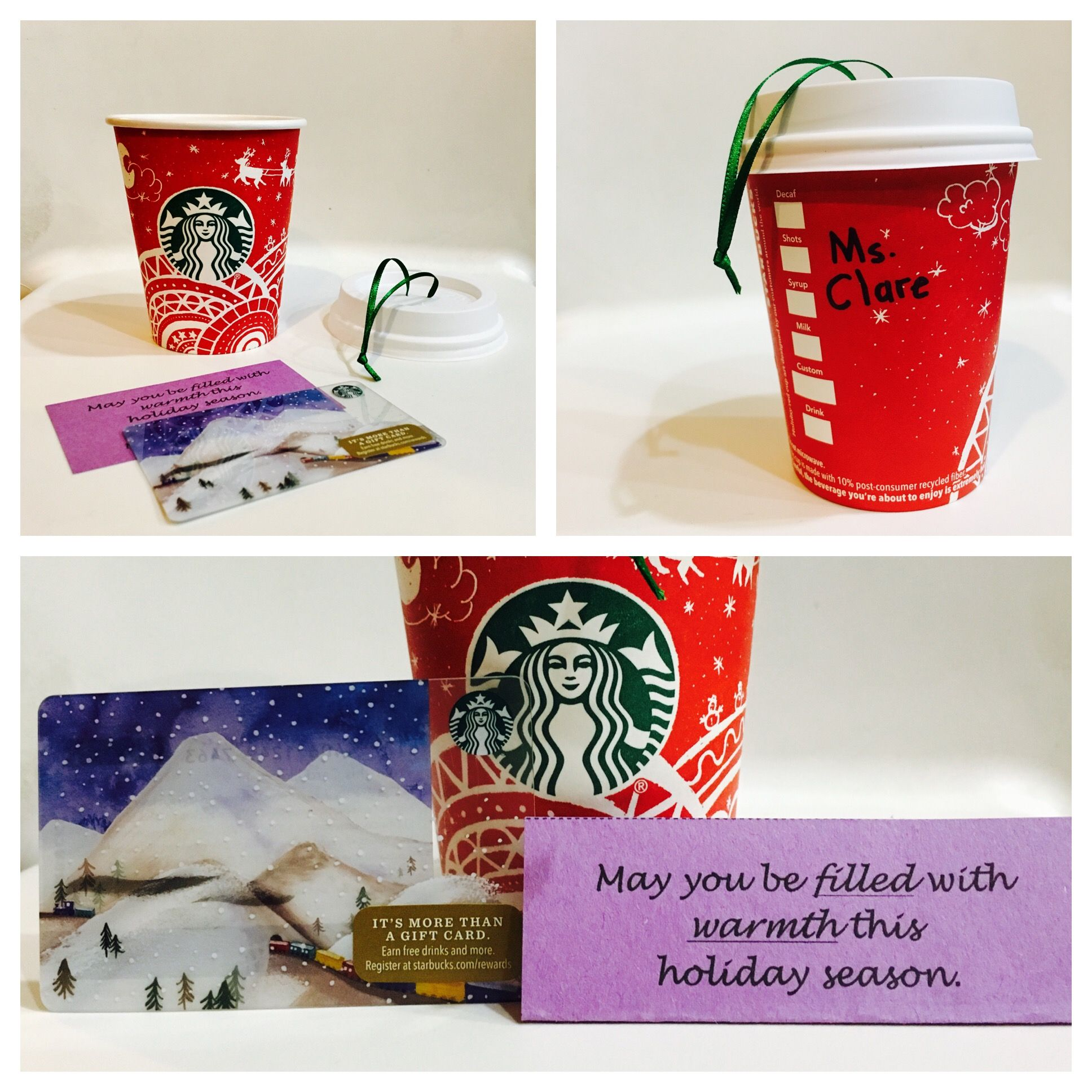 Teacher Christmas Gift Idea Diy Coffee Cup Ornament Card Holder Starbucks Had A Great Line Of Cups For 2016 Which Inspired This Write