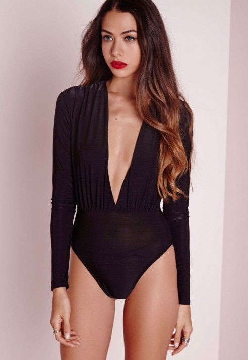 dec67cb43715 Black Slinky Deep Plunge Bodysuit in 2019   For my closet ...