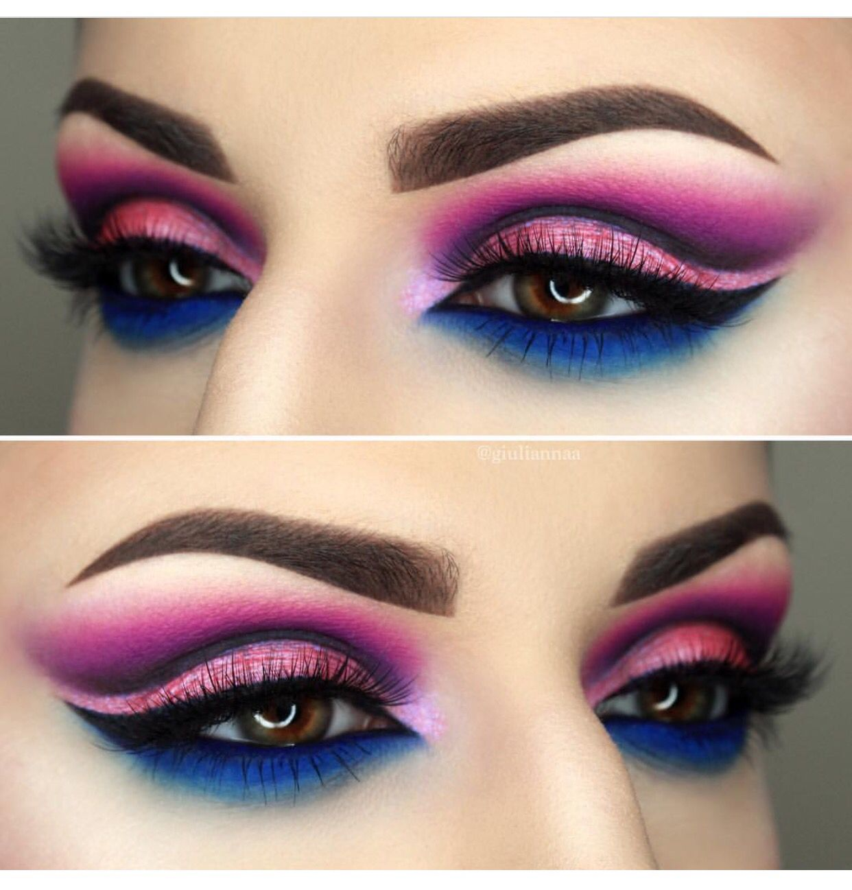 Hot pinks and Royal Blues Makeup, Pride makeup