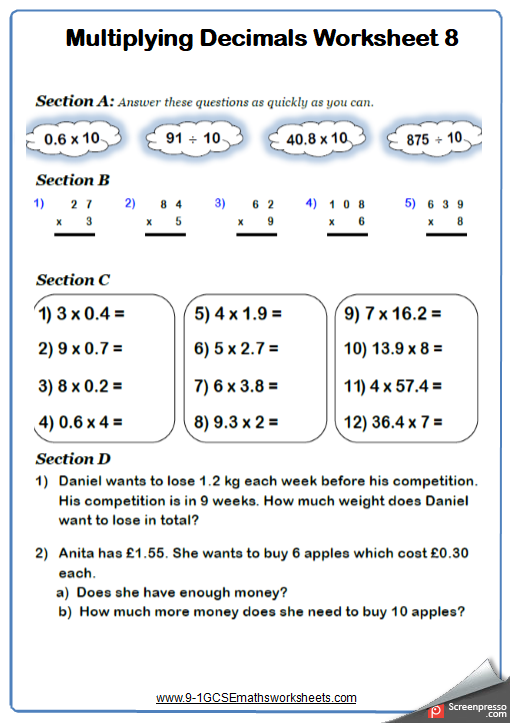 Multiplying Decimals A Maths Worksheet And Answers Gcse Foundation Grade 3 Year 7 Algebra Worksheets Ks3 Maths Worksheets Math Worksheet