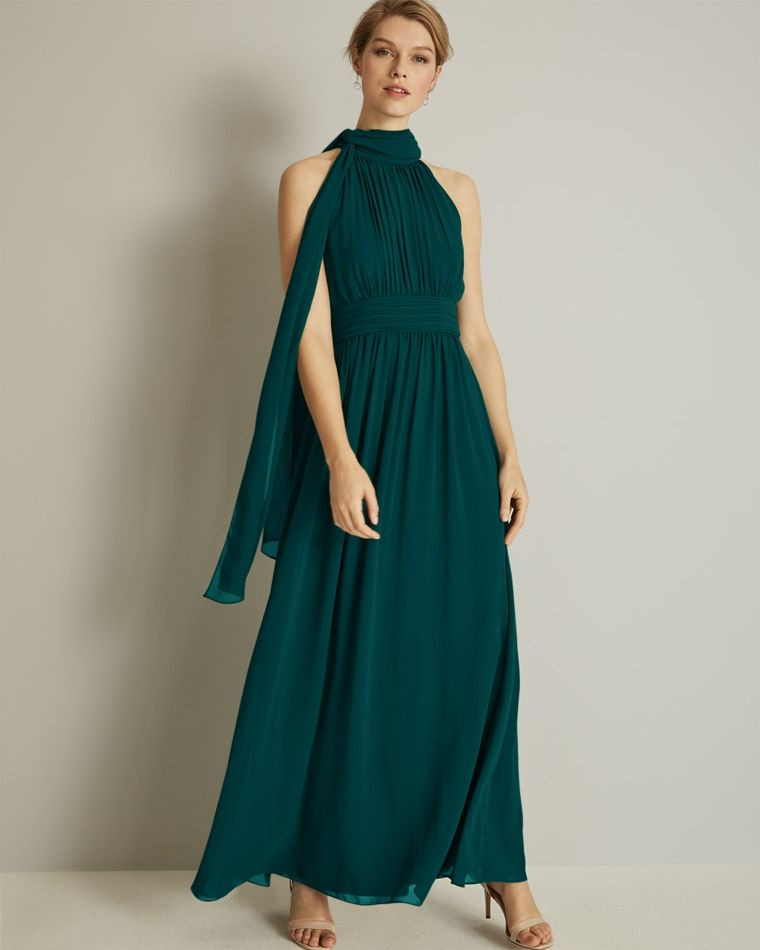 sale retailer e5f5f 8fc7a Abito elegante di colore verde plissettato con nodo ...