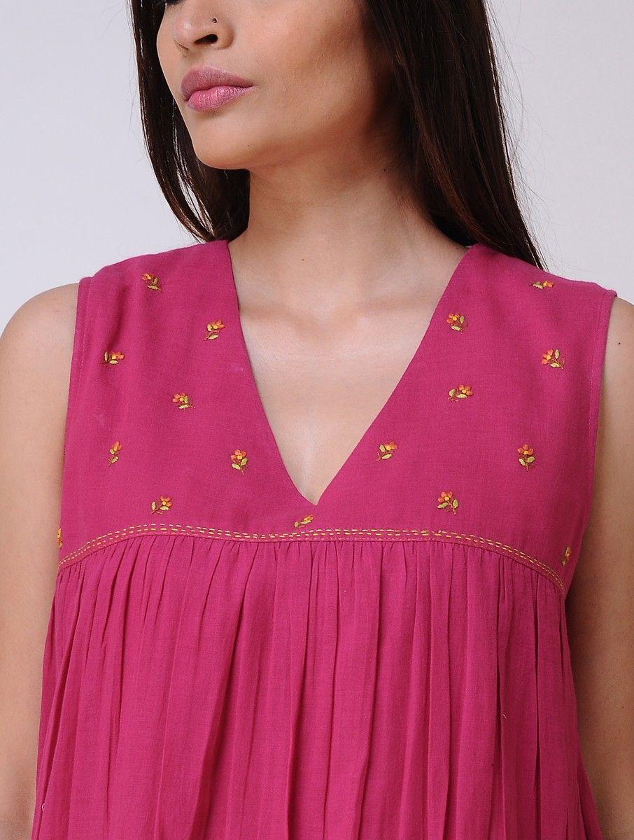 Fuschia yoke hand embroidered dress summer florals in