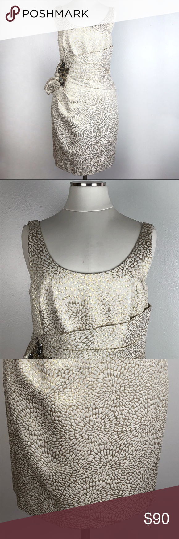 Kay unger dress metallic gold beaded formal d in my posh