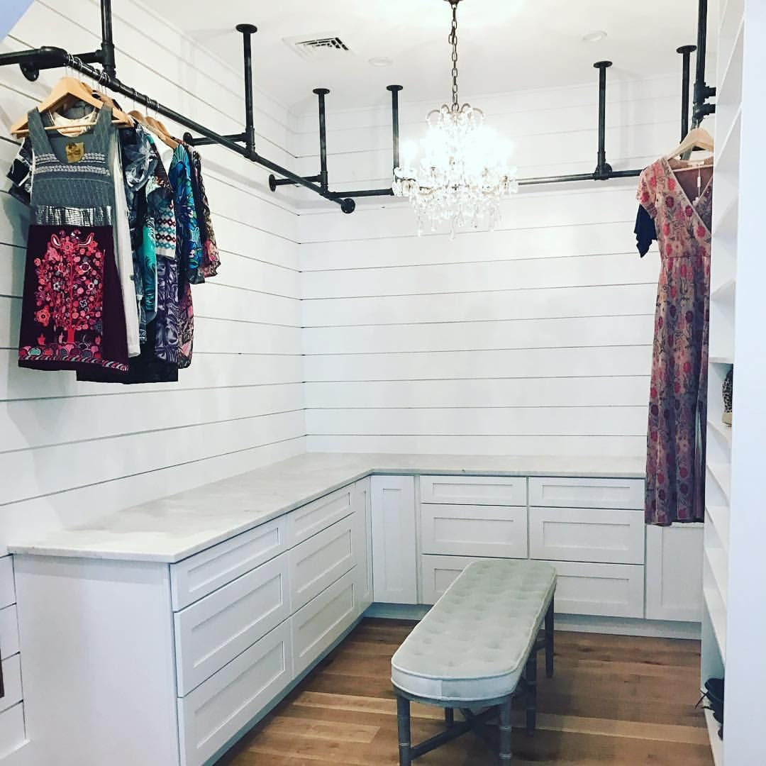 Metal Pipe Bar Above Wash And Dryer Countertop To Hang Clothes Other Side Of Laundry Be Cabinets