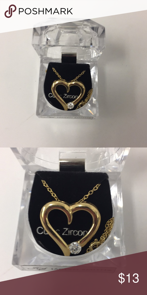 Cubic Zirconia Heart gold plate necklace   Jaclyn smith, Gold and ...