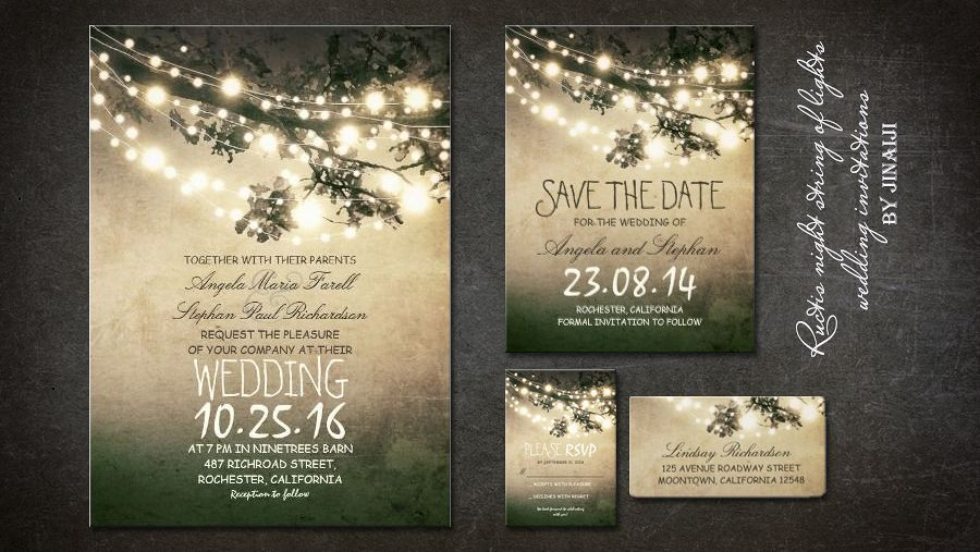 Outdoor Wedding Invitation Wording: Rustic Tree Branches And Lights Vintage Wedding Invitation
