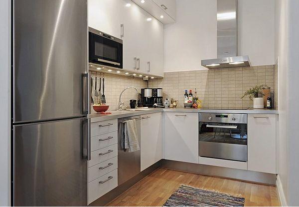6 bucatarie suedeza mica mobila moderna alba pe colt for for Kitchen designs sa