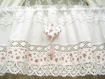 Vintage Landhaus Gardine shabby chic Weiß Rosa 320