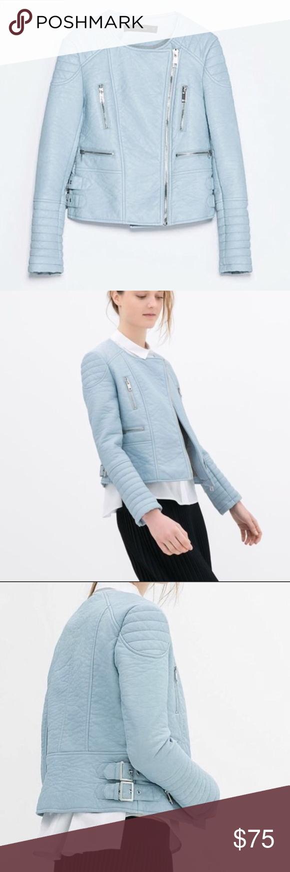 Zara Powder Baby Blue Leather Jacket RARE BNWT NWT | Blue ...