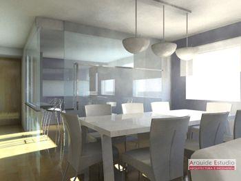 Salon-comedor. Cocina en caja de cristal. Arquide Estudio | 3D de ...