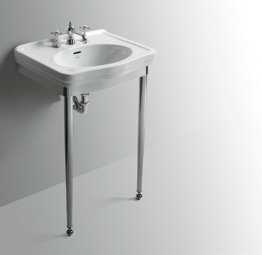 LO914+LOCG1 | Londra Ceramica Simas Washbasin 58 with single tap hole pre-punched for three tap holes. To be mounted on pedestal