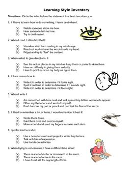 Impeccable image inside printable learning styles inventory for college students
