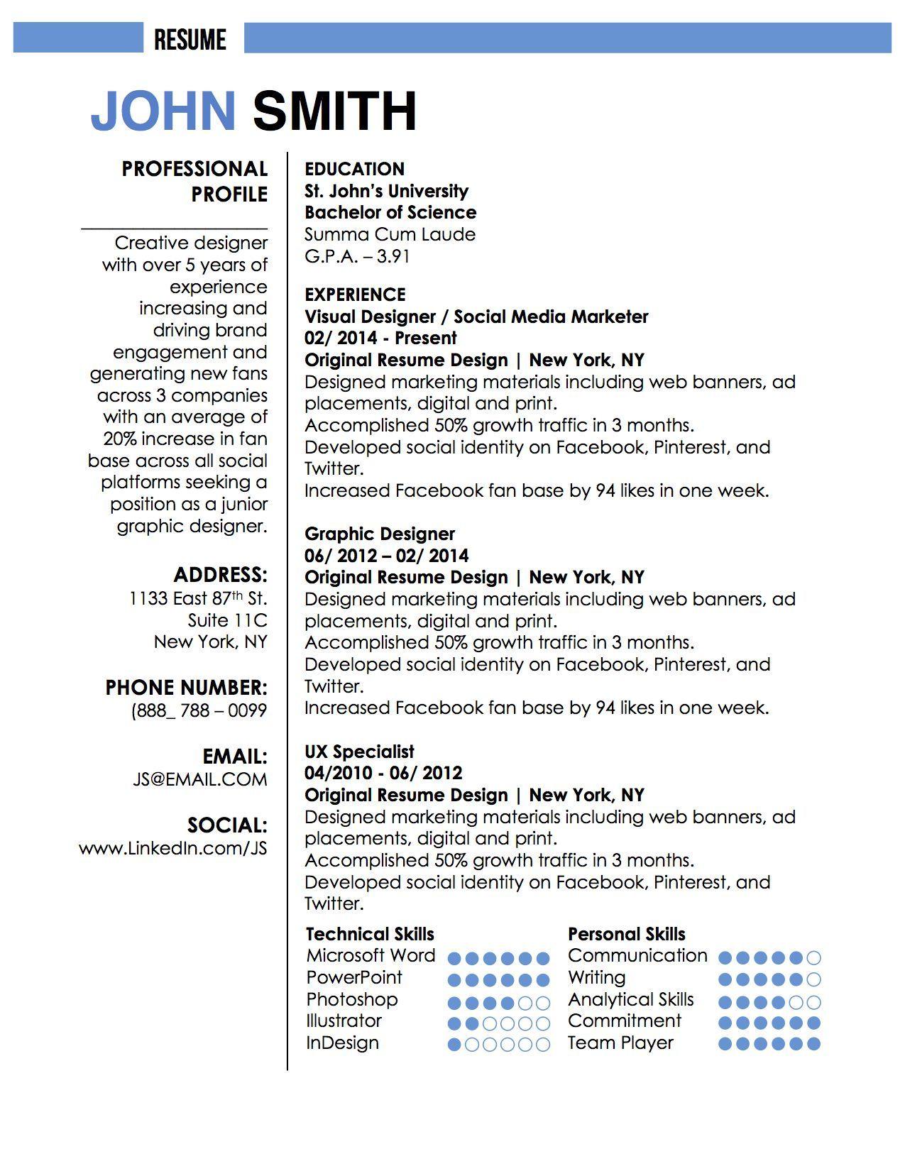 John Smith Resume Template Job Resume Template Resume Template Word Resume