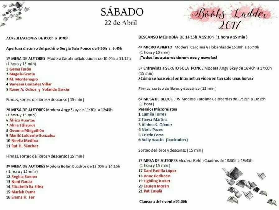 Pues también puedo anunciarlo ya. En Barcelona en el Books Ladder el día 22 de abril,  en mesa de la mano de Carolina Galobardas Perez. Mil gracias por pensar en mí. :)