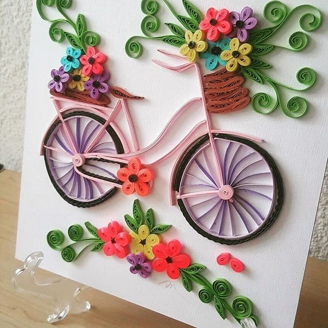 Lets go ride a bike... or fly a kit... or really...lets make beautiful cards together! Image from: @salasargentina #bazzilfinds #papercrafting #quilling