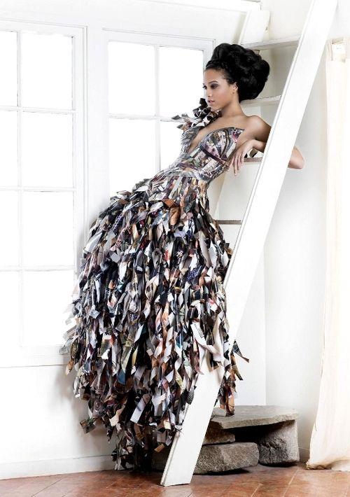 Paper dress at Fashion Forward sustainable fashion event #fashion #trends #sustainable #design #diy #textiles @Mark Van Der Voort Swanson & Spencer @Darren Himebrook Vogelsang GB @shwopping
