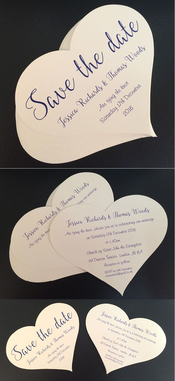 Heart Shaped Save the Date and Wedding Invitations, digitally ...
