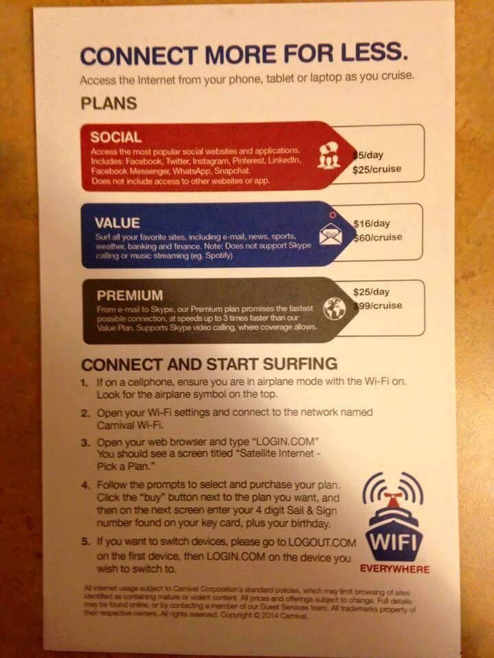 Carnival Cruise Internet >> Internet Plans For Carnival Freedom Christmas Cruise In
