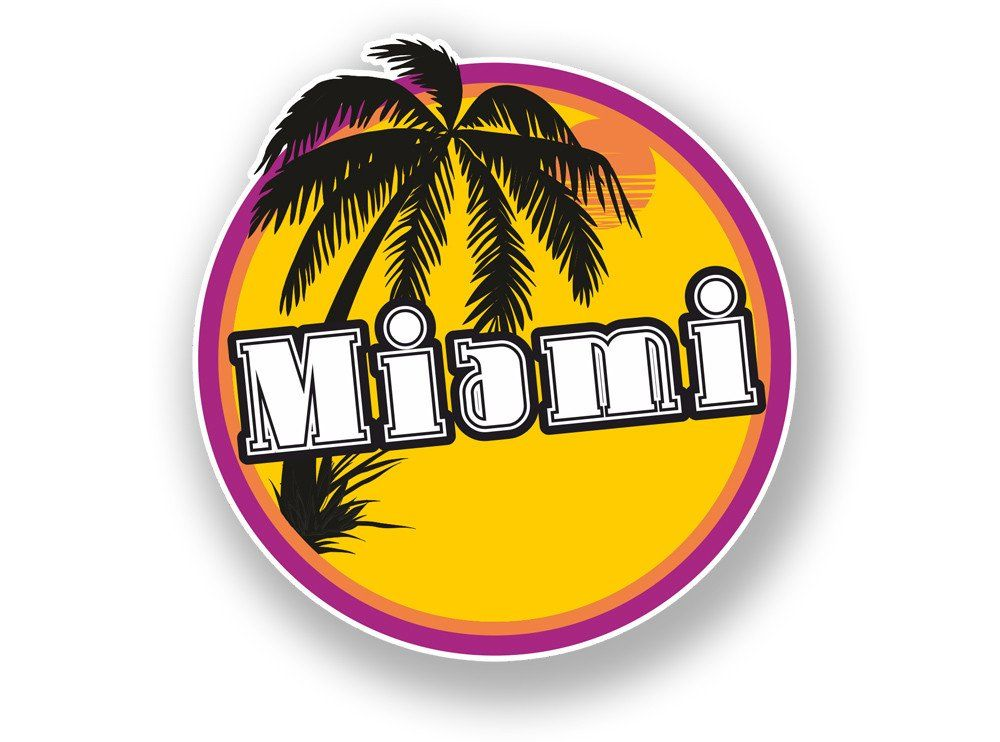 2 x miami beach sunset vinyl sticker travel luggage usa 7101