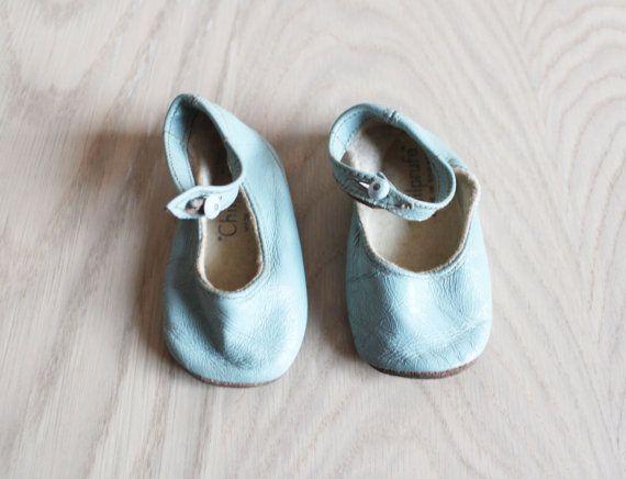Vintage Powder Blue Baby Shoes