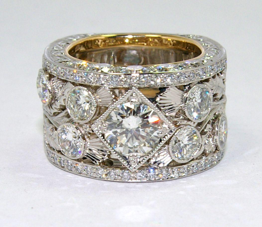 Diamond platinum hand made Scottish thistle filigree ring