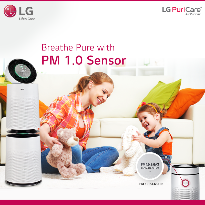 Enjoy The Freshness Of Nature With Lg Puricare Airpurifier The Pm 1 0 Smart Sensor And Display Lets Y Air Purification Systems Air Purifier Air Purification