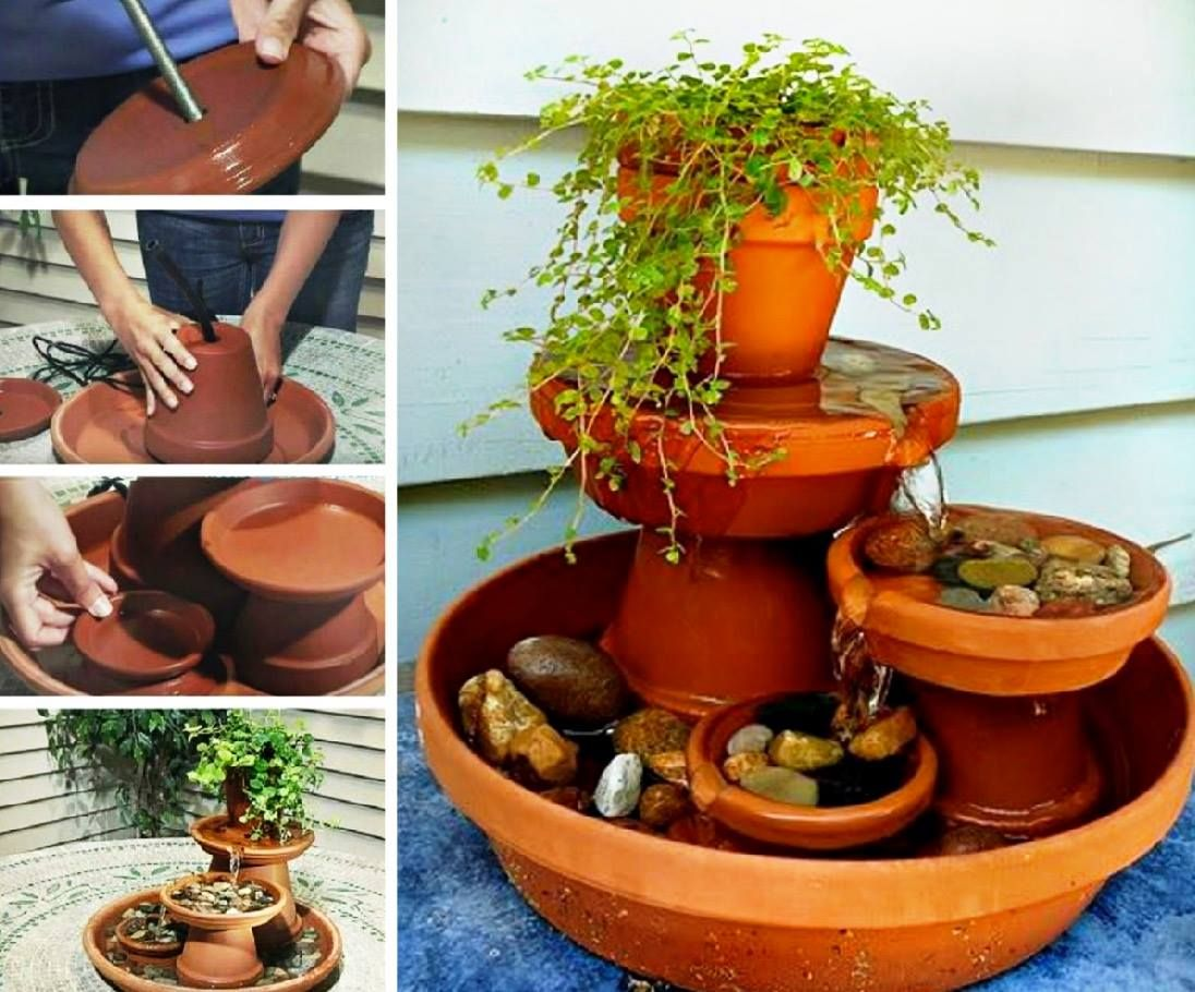 Clay Pot Fountain Instructions Diy And Crafts