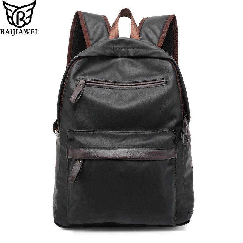 BAIJIAWEI Öl Wachs Leder Rucksack Für Männer Westlichen College Style Taschen männer Casual Rucksack & Reisetaschen Mochila Zip
