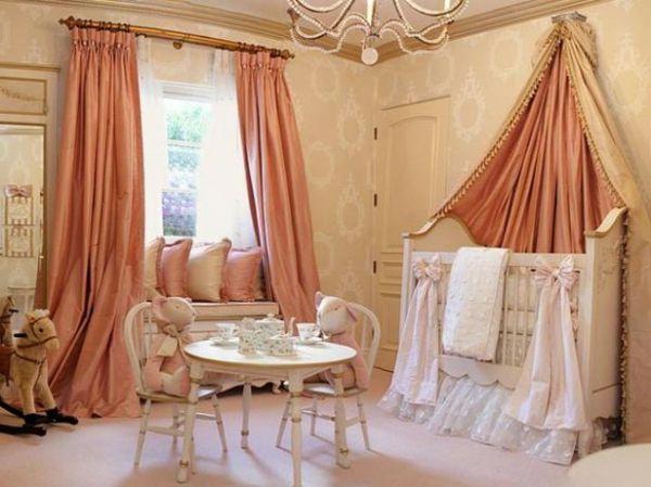 Popular babyzimmer mit interessantem bett design und pfirsich farbe f r gardinen auff llige Ideen u Babyzimmer