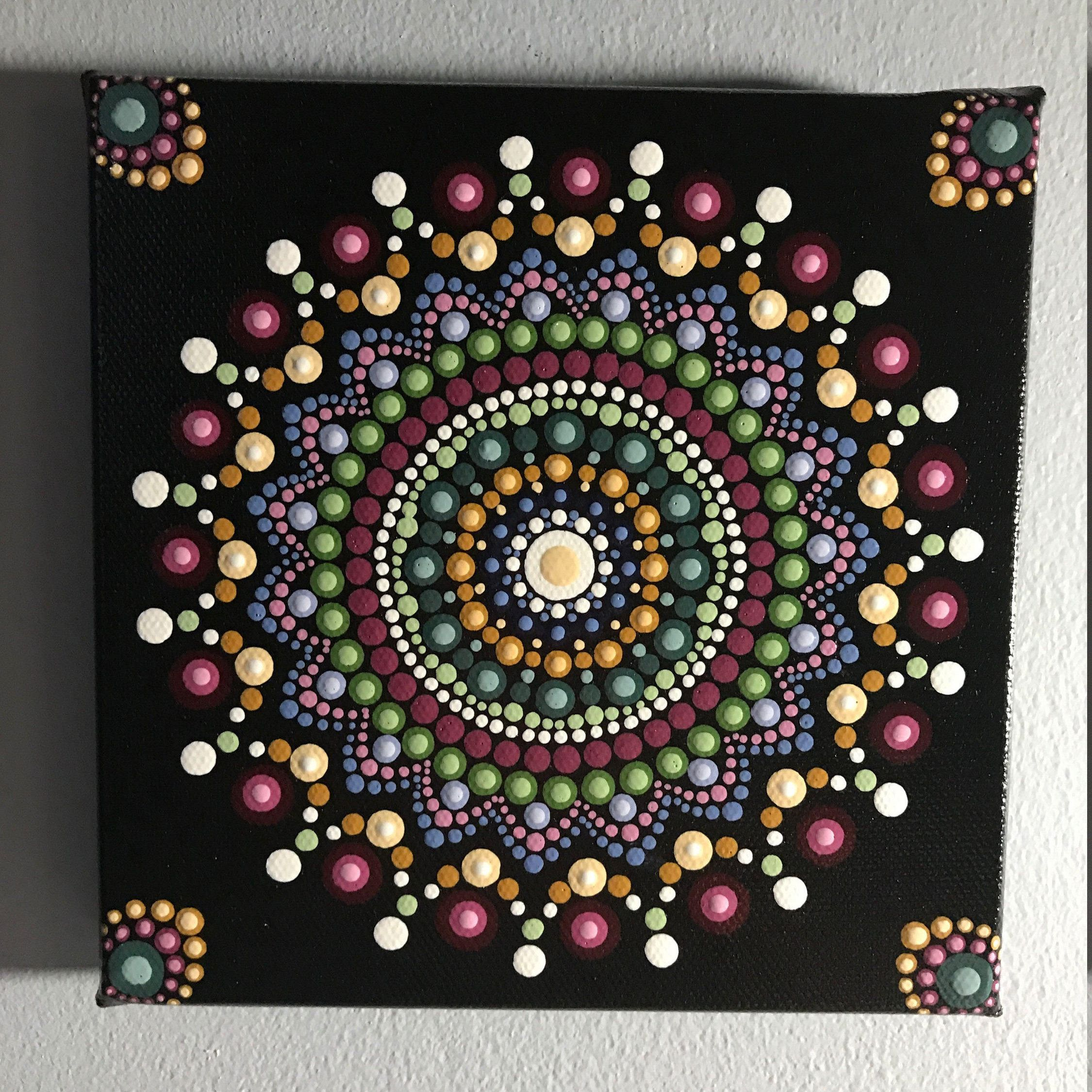Hand Painted Mandala On 6 X Canvas Meditation Dot Art Wall Calming Healing 550