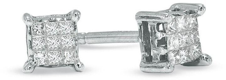 867da5020 1/8 CT. T.w. Composite Princess-Cut Diamond Stud Earrings in 14K ...