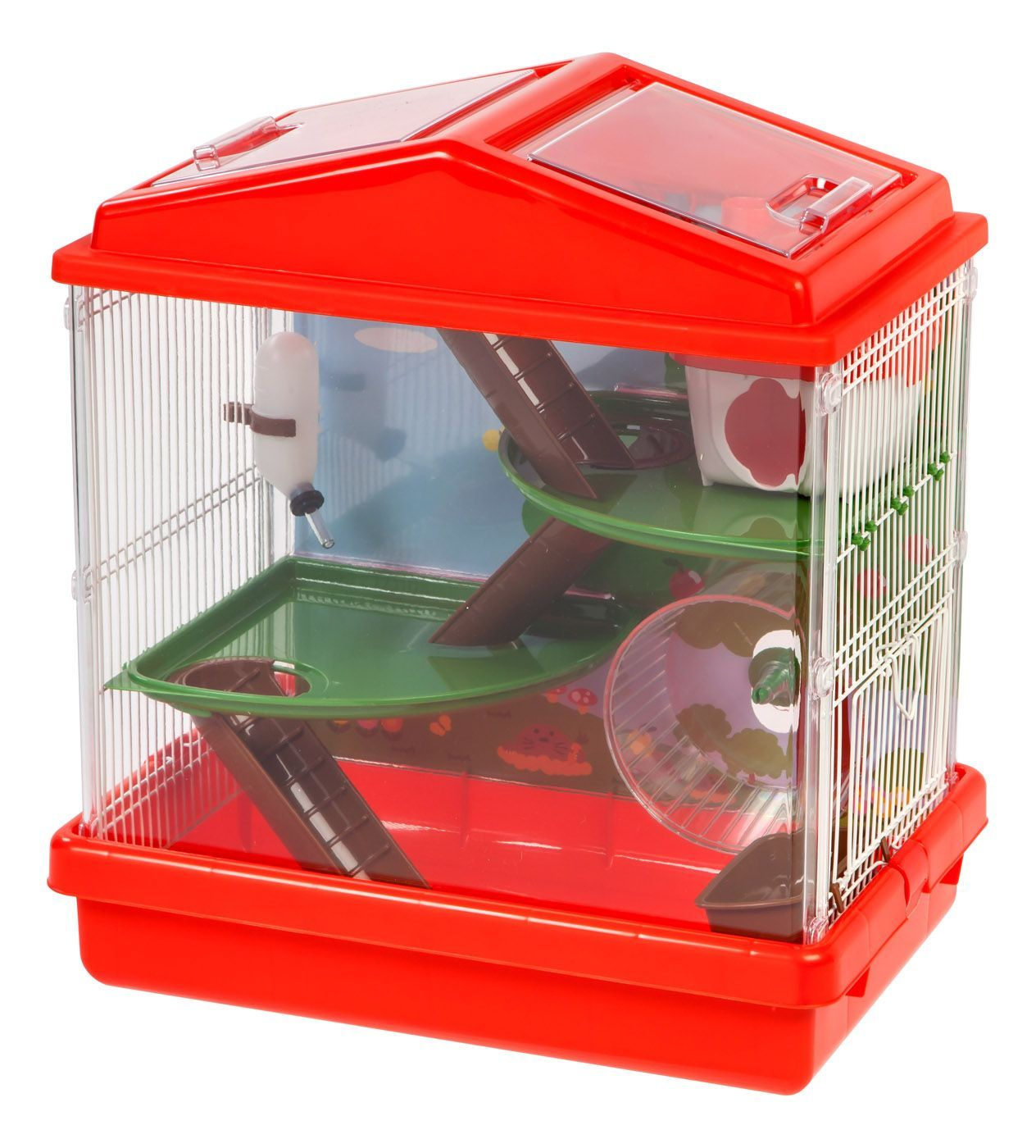 3 Level Hamster Cage Red Hamster Cage Small Pets Pet Cage