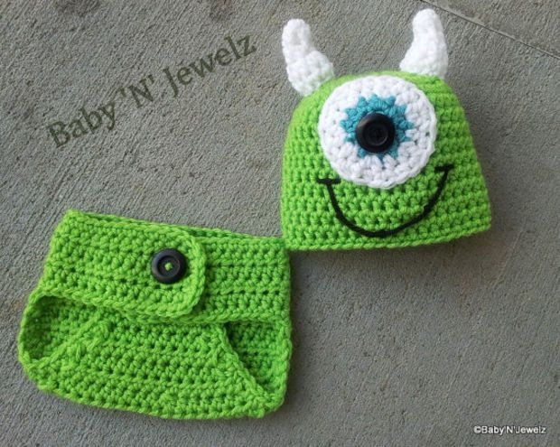 af2793f7682 Crochet Mike Inspired Monster Inc.. Outfit -- Photo Prop Set -- Hat ...