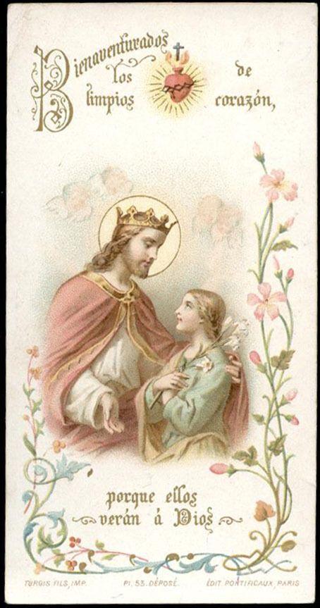 santino cromo-holy card  turgis CRISTO RE S.CUORE