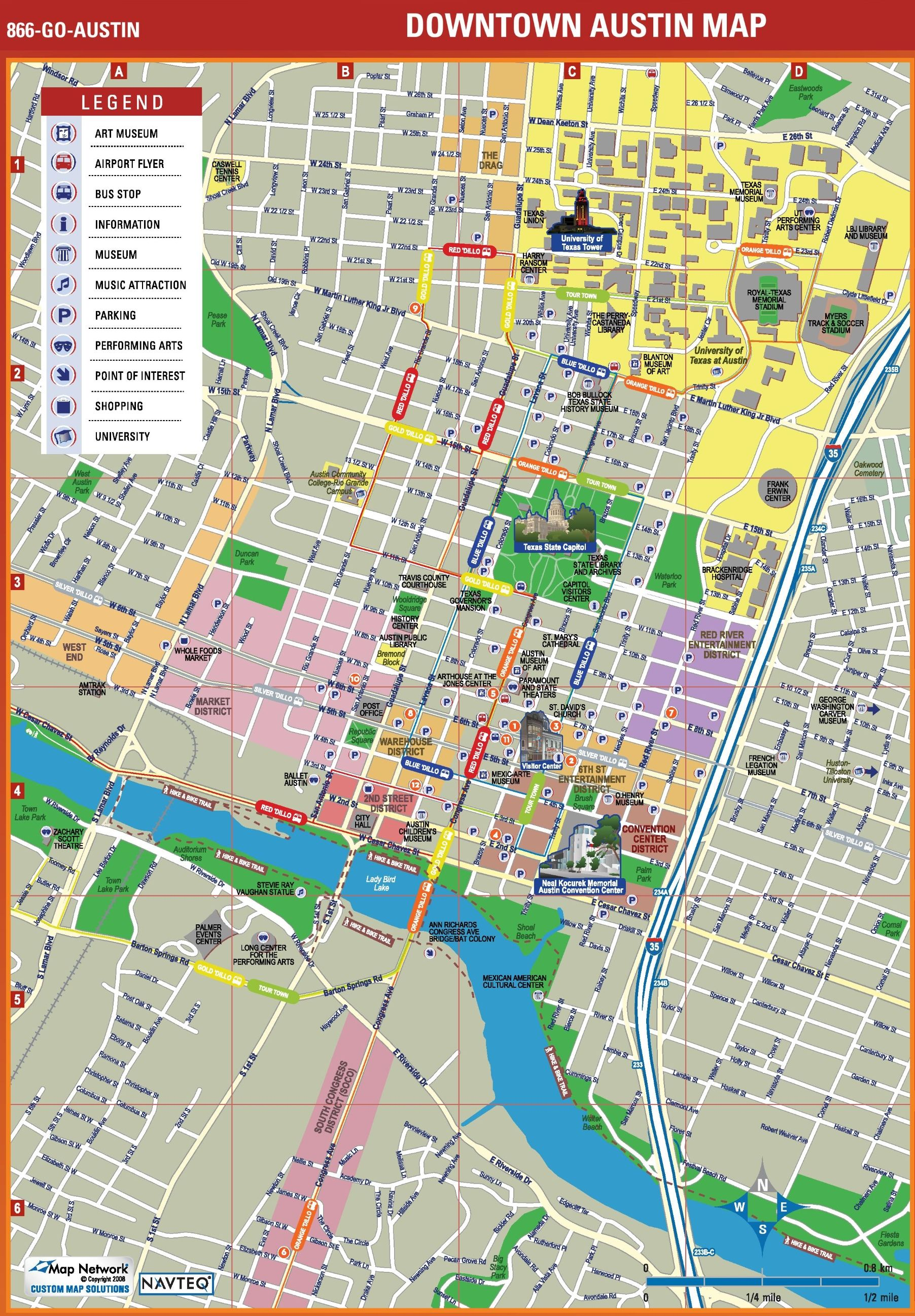 Austin Tourist Attractions Map Stunning Downtown Austin Map