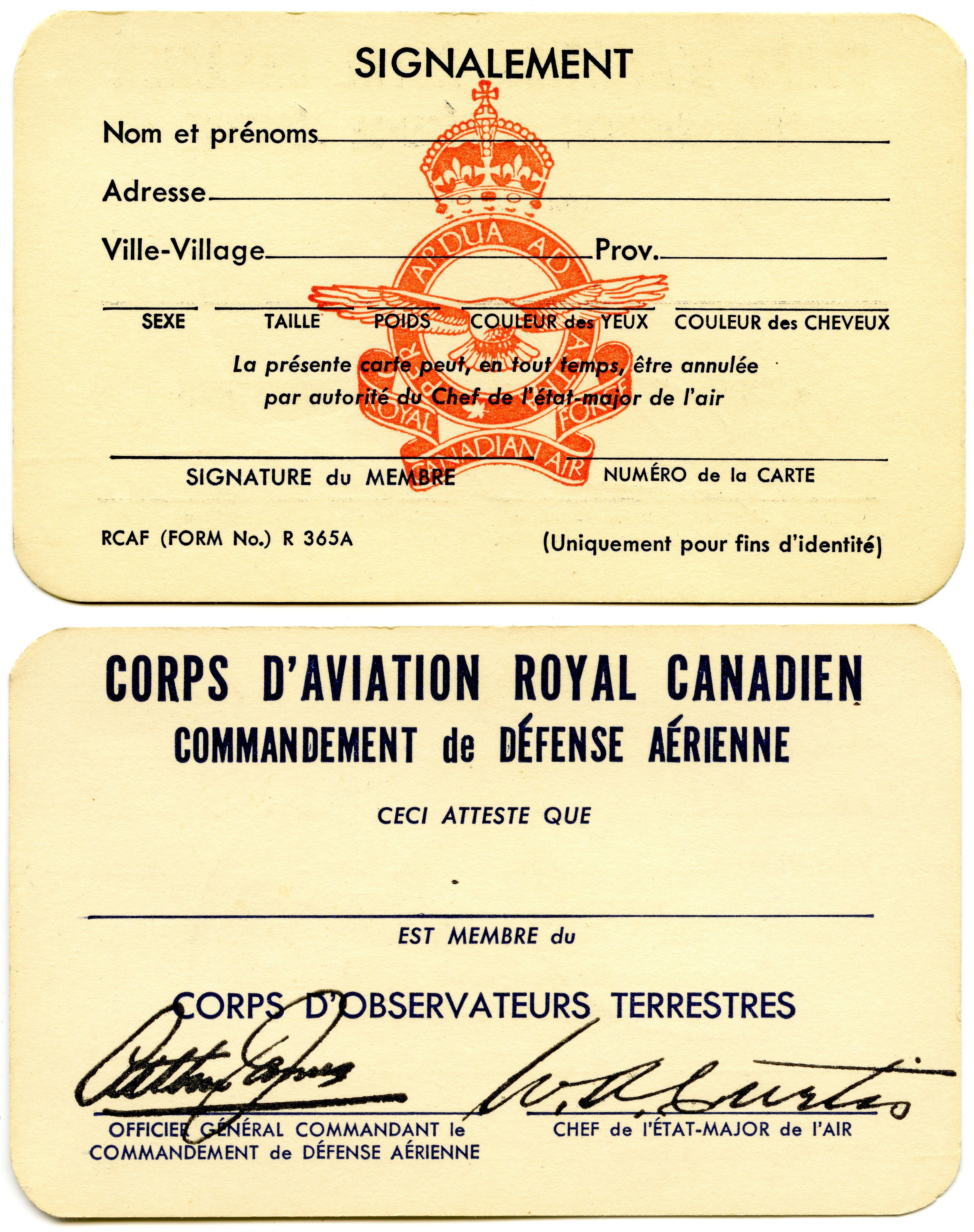 Rcaf Corps D Observateurs Terrestre Ground Observer Corps