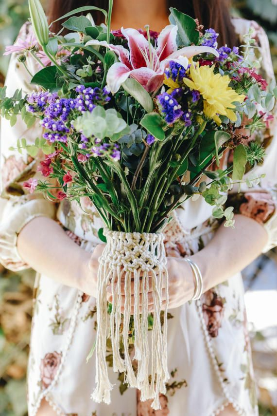Personalized Wedding Bouquet Wrap Macrame bouquet wrap Flower Wrap