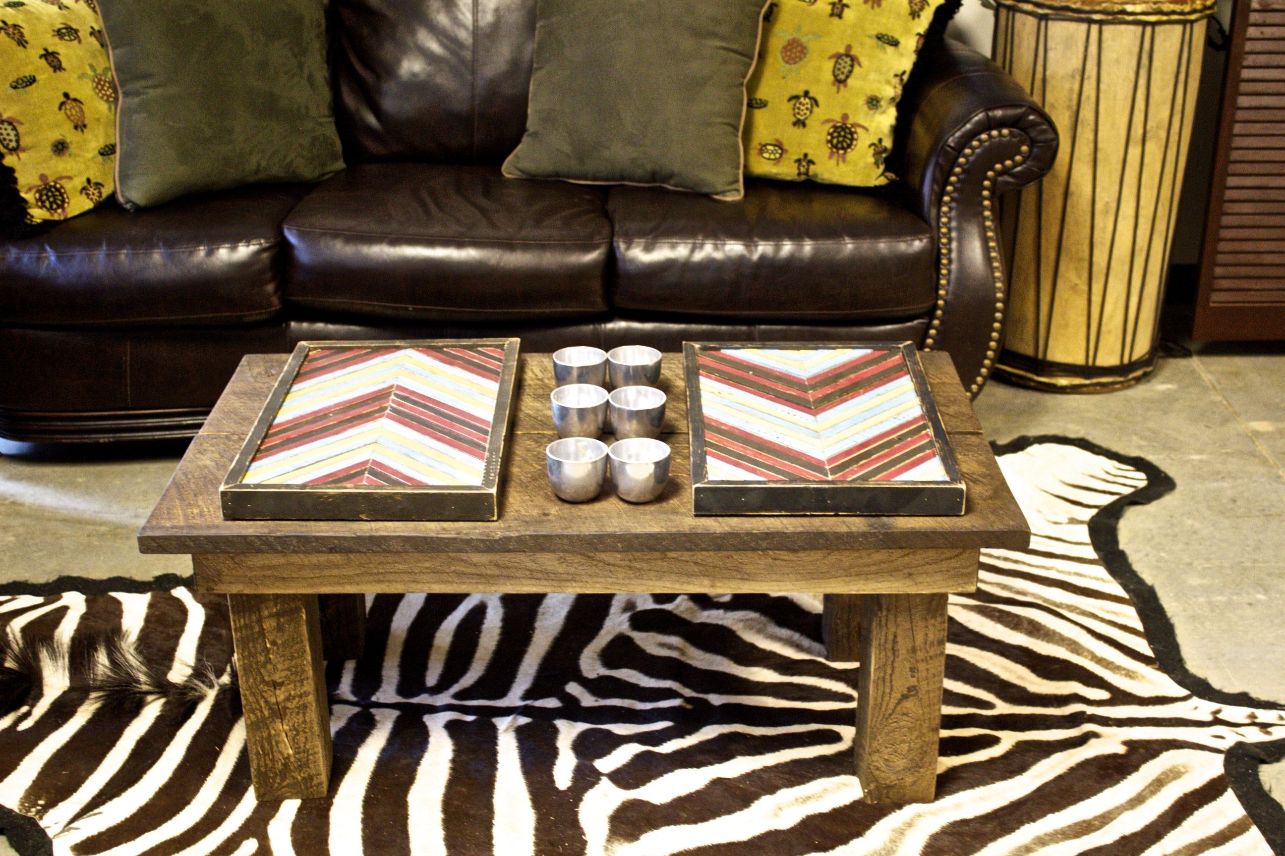 Drum wooden chevron art and coffee table by hous zebra skin rug