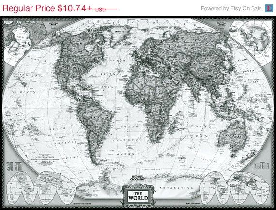 Executive style map national geographic black and white world maps executive style map national geographic black and white world maps giclee print mounted canvas option gumiabroncs Gallery