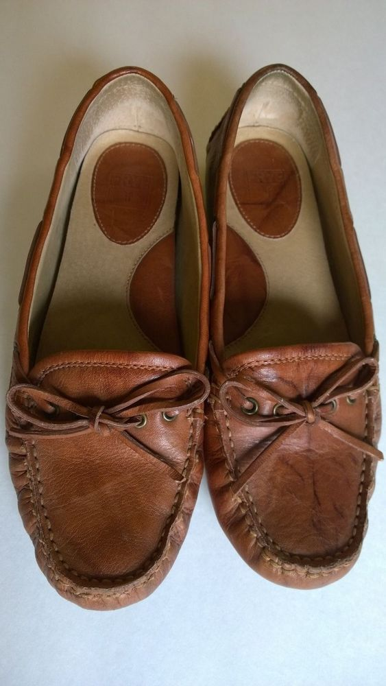 1fa122b842f Womens Frye Leather Brown Tan Driver Moccasins Loafer Shoes Size 8.5 ...