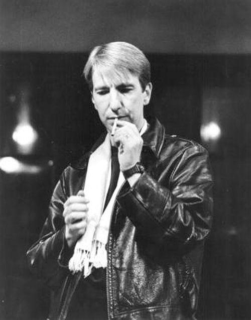 Alan Rickman smoking a cigarette (or weed)