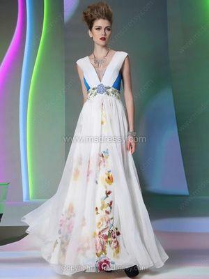 A-line Square Chiffon Ankle-length Pattern/Print Prom Dresses