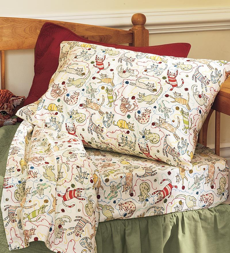 Twin Playful Cat Flannel Sheet Set King Sheet Sets Sheets King